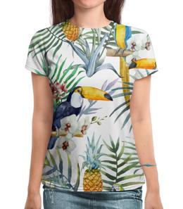 """Футболка с полной запечаткой """"Пеликан и ананасы"""" - красиво, птицы, природа, ананас, пеликан"""