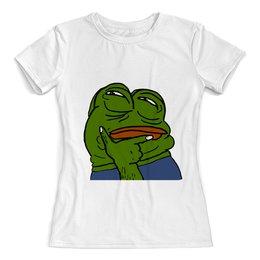 "Футболка с полной запечаткой (женская) ""Pepe the Frog"" - мем, лягушка, задумчивый, pepe, pepe the frog"