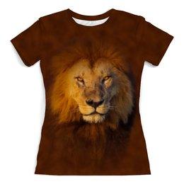 """Футболка с полной запечаткой (женская) """"Лев    """" - кошка, хищник, лев, животное, грива"""