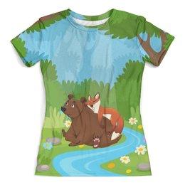 """Футболка с полной запечаткой (женская) """"Забавные животные"""" - животные, лес, медведь, лиса, природа"""