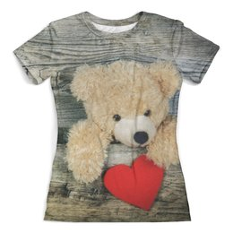 """Футболка с полной запечаткой (женская) """"Плюшевый медведь"""" - день святого валентина, сердце, плюшевый медведь"""