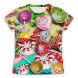 """Футболка с полной запечаткой (Женская) """"Леденцы (жен.)"""" - конфеты, чупа-чупс, шоколад, леденцы"""