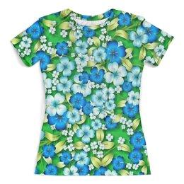 """Футболка с полной запечаткой (женская) """"Цветы"""" - цветы, весна, природа, зелень, трава"""