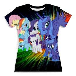 "Футболка с полной запечаткой (женская) ""my little pony full print"" - pony, my little pony, пони, май литл пони"