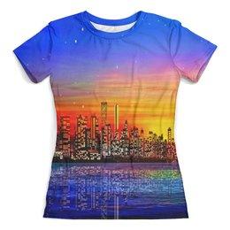 """Футболка с полной запечаткой (женская) """"Город"""" - город, здания, мегаполис, краски, вода"""