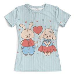 """Футболка с полной запечаткой (женская) """"Влюбленные зайцы. Парные футболки."""" - зайцы, сердца, 14 февраля, парные"""