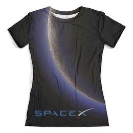 """Футболка с полной запечаткой (женская) """"SpaceX. Dragon"""" - космос, маск, spacex, вселенная, thespaceway"""