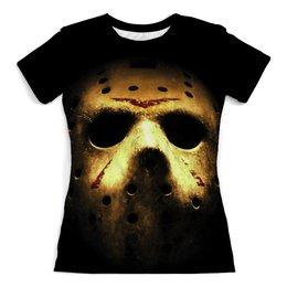 """Футболка с полной запечаткой (женская) """"Jason"""" - маска, friday 13, пятница 13, джейсон, хрустальное озеро"""