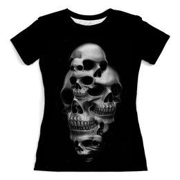 """Футболка с полной запечаткой (женская) """"Skull Art"""" - skull, череп, арт, черепа, рисунок"""