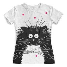 """Футболка с полной запечаткой (женская) """"Белый кот черная кошка"""" - коты, любовь, сердечки"""