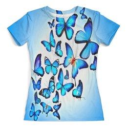 """Футболка с полной запечаткой (женская) """"Бабочки"""" - бабочки, насекомые, цветные, природа, голубой"""