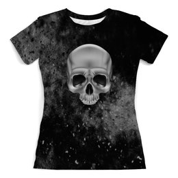 """Футболка с полной запечаткой (женская) """"Череп"""" - череп, скелет, кости, космос, черно-белые"""