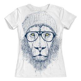 """Футболка с полной запечаткой (женская) """"Hipster lion 3D"""" - лев, рисунок, черно-белый, хипстер, рисунок карандашом"""