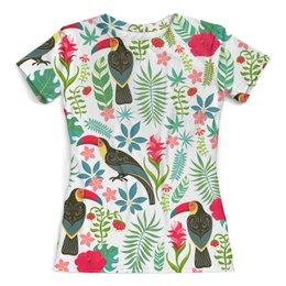 """Футболка с полной запечаткой (женская) """"Птицы и тропики"""" - цветы, птицы, природа, птички, тропики"""