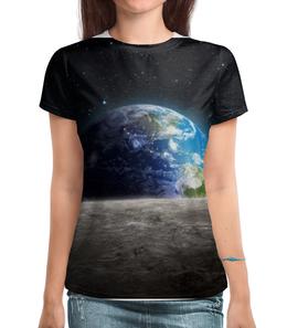 """Футболка с полной запечаткой """"Земля с луны"""" - звезда, звезды, космос, земля, луна"""