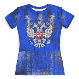 """Футболка с полной запечаткой (женская) """"Россия"""" - россия, герб, russia, орел, рф"""