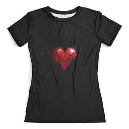 """Футболка с полной запечаткой (женская) """"Сердце"""" - арт, стиль, любовь, дизайн, сердце"""