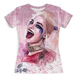 """Футболка с полной запечаткой (женская) """"Harley Quinn Design"""" - харли квинн, harley quinn, отряд самоубийц, суперзлодеи, любителям комиксов"""