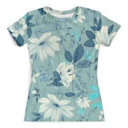 """Футболка с полной запечаткой (женская) """"Цветы. Акварель"""" - цветы, белый, листья, синий, акварель"""