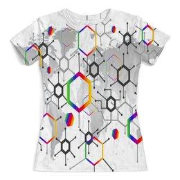 """Футболка с полной запечаткой (женская) """"Формула"""" - узор, текстура, формула, химия, молекулы"""