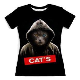 """Футболка с полной запечаткой (женская) """"Кот в капюшоне"""" - кот, кошка, животные, котенок"""