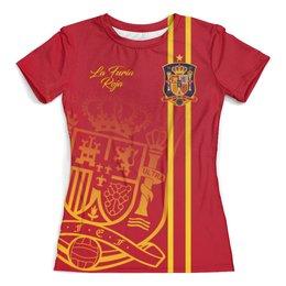 """Футболка с полной запечаткой (женская) """"Сборная Испании"""" - команда испании, сборная испании по футболу, сборная испании, футбол, испания"""