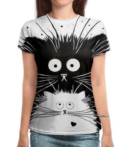 """Футболка с полной запечаткой """"Кот и Кошка"""" - кот, кошка, рисунок, чёрное и белое"""
