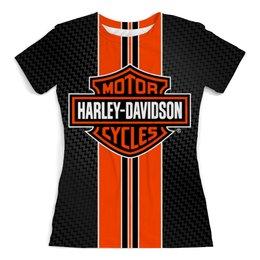 """Футболка с полной запечаткой (женская) """"Harley-Davidson"""" - мото, мотоциклы, байкеру, харлей дэвидсон, рокеру"""