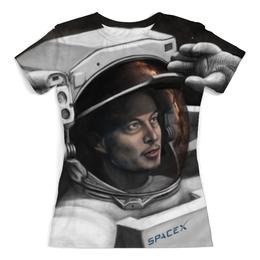 """Футболка с полной запечаткой (Женская) """"SpaceX"""" - космос, вселенная, thespaceway, spacex, маск"""