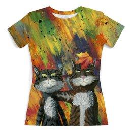 """Футболка с полной запечаткой (женская) """"Друзья"""" - абстрактный, прикольные коты, яркий фон, майка для девушки, два комичных кота"""