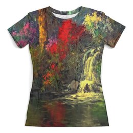 """Футболка с полной запечаткой (женская) """"Водопад"""" - картина, краски, природа, пейзаж, водопад"""
