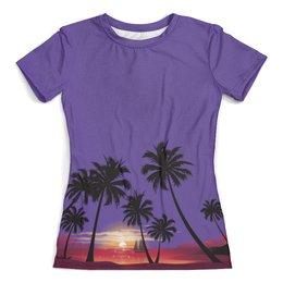 """Футболка с полной запечаткой (женская) """"Острова в океане"""" - море, закат, пальмы, острова, яхта"""