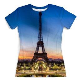 """Футболка с полной запечаткой (женская) """"Париж"""" - арт, город, дизайн, франция, париж"""