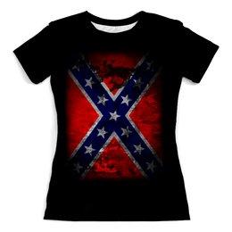 """Футболка с полной запечаткой (женская) """"Флаг Конфедерации США"""" - война, америка, история, конфедерация, флаг конфедерации"""