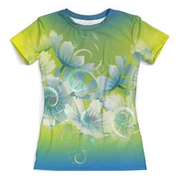 """Футболка с полной запечаткой (женская) """"Цветочное настроение лета"""" - цветы, цветочки, нежность, нежные цветы, голубизна"""