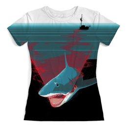 """Футболка с полной запечаткой (женская) """"Shark Attack"""" - море, челюсти, ужасы, акула, корабь"""