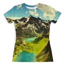 """Футболка с полной запечаткой (женская) """"Италия"""" - мир, страны, природа, горы, озеро"""