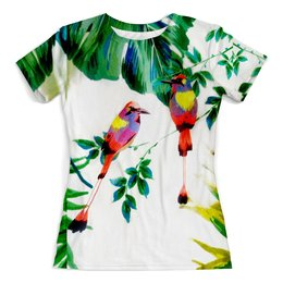 """Футболка с полной запечаткой (женская) """"Попугаи"""" - солнце, листья, ярко, попугай, тропики"""