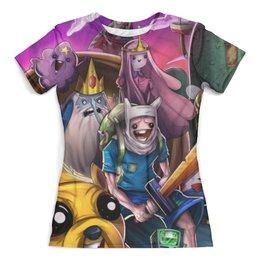 """Футболка с полной запечаткой (женская) """"Время приключений / Adventure Time"""" - сериал, мультфильм, время приключений"""