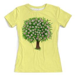 """Футболка с полной запечаткой (женская) """"Цветочное дерево"""" - цветы, растение, настроение, весна, дерево"""