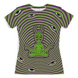 """Футболка с полной запечаткой (женская) """"Alien"""" - alien, инопланетянин, psy, психоделика, ufo"""