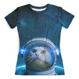 """Футболка с полной запечаткой (женская) """"SpaceCat"""" - кот, космос, котэ, астронавт, космонавт"""