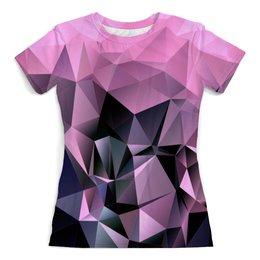 """Футболка с полной запечаткой (женская) """"LowPoly Pink"""" - абстракция, color, треугольники, polygon, полигон"""