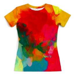 """Футболка с полной запечаткой (женская) """"Water Color"""" - абстракция, color, краска, текстуры, брызги красок"""