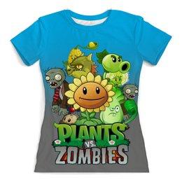 """Футболка с полной запечаткой (женская) """"Plants vs Zombies"""" - зомби против растений"""