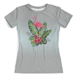 """Футболка с полной запечаткой (женская) """"Розовый фламинго"""" - птичка, мода, стиль, дизайн"""
