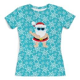 """Футболка с полной запечаткой (женская) """"Санта"""" - новый год, снег, снежинки, дед мороз, санта"""