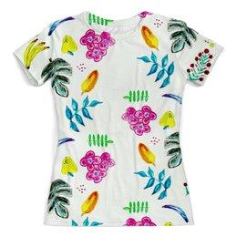 """Футболка с полной запечаткой (женская) """"Фрукты"""" - лето, цветы, листья, арбуз, бананы"""
