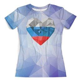 """Футболка с полной запечаткой (женская) """"Флаг России"""" - кристалл, символ страны, сердечко"""