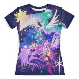 """Футболка с полной запечаткой (женская) """"Маленький пони, Принцесса Луна"""" - звездное небо, ночь, принцесса луна, абстракция, стиль"""